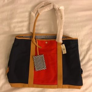 Talbots Red Blue Tan Handbag Purse